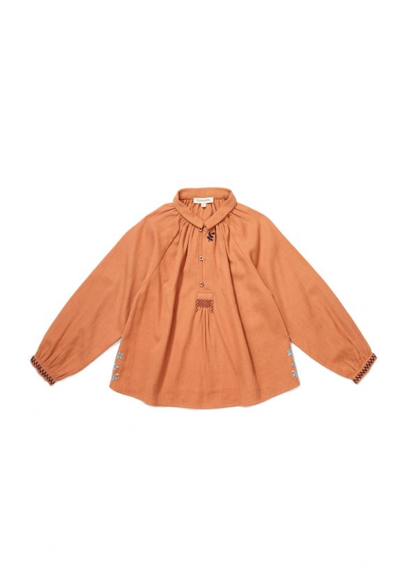 Caramel Orange - Haddon Embroidered Blouse - Clothing