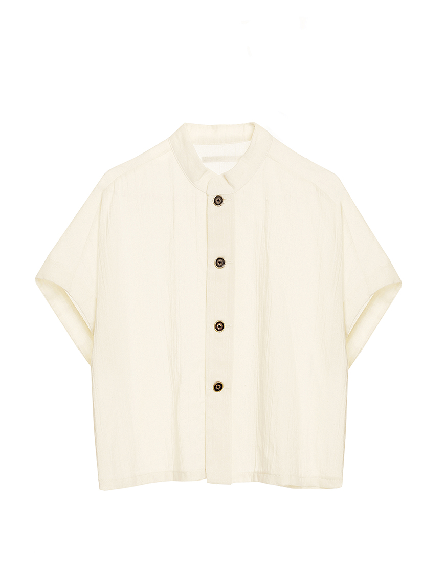 Little Creative Factory  - Ballet Button Shirt IVORY - Clothing