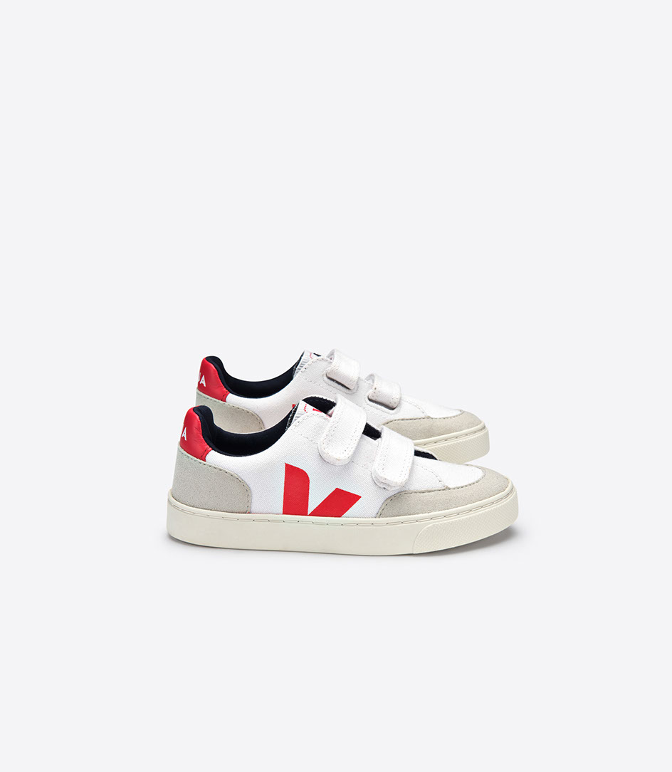 Veja  - V-12 Canvas White Pekin Velcro - Footware