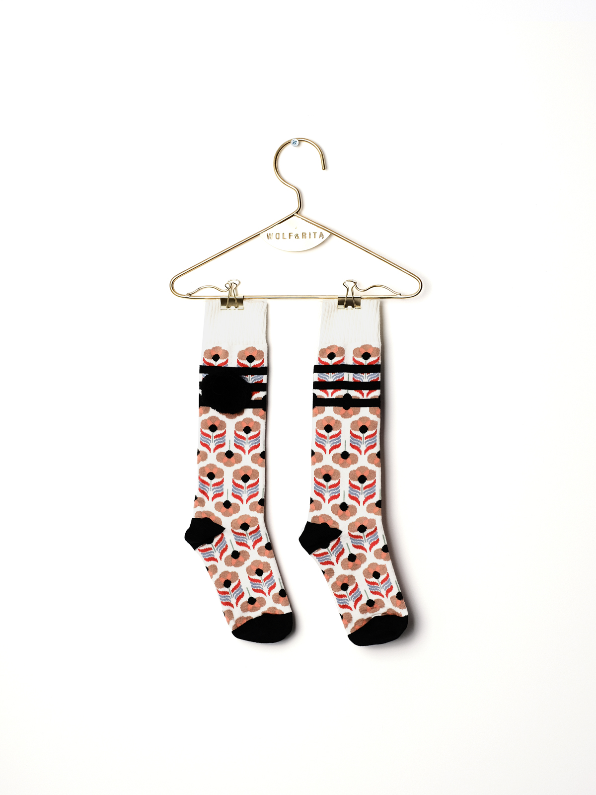 Wolf & Rita  - BABY LONG SOCKS STRIPES BLACK - Clothing