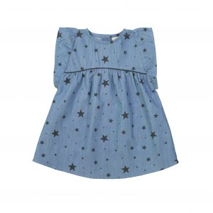 Louis Louise  - BETTINA BLUE/CARBON CHAMBRAY STARS DRESS - Clothing