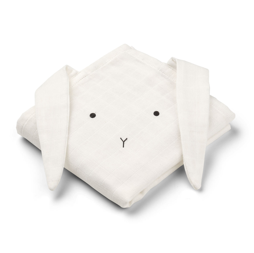 Liewood Ecru - Hannah Muslin Cloth 2 Pack Rabbit Crème de la Crème - Homeware