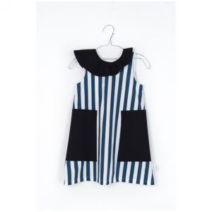 Motoreta  - EDNA BABY DRESS BLUE & WHITE STRIPES - Clothing