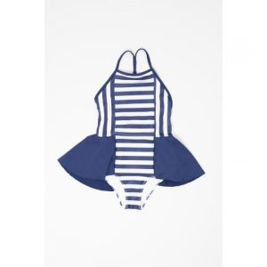 Motoreta  - RUFFLED BABY SWIMSUIT BLUE & WHITE STRIPES - Clothing