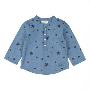Louis Louise  - GRAND PÈRE BLUE&CARBON CHAMBRAY STARS SHIRT - Clothing