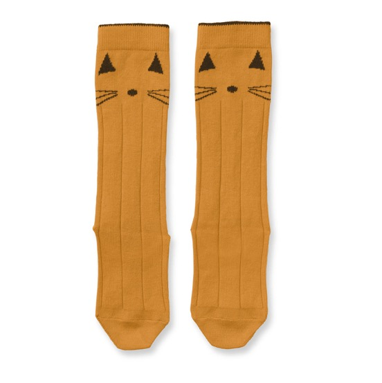 Liewood  - Sofia Knee Socks Cat Mustard - Clothing