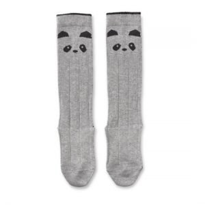 Liewood  - Sofia Knee Socks Panda Grey Melange - Clothing
