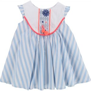 Billieblush  - SPRING WHITE  BLUE DRESS - Clothing