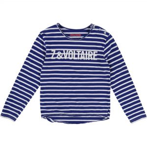 Zadig & Voltaire  - BLUE WHITE STRIPE T-SHIRT - Clothing