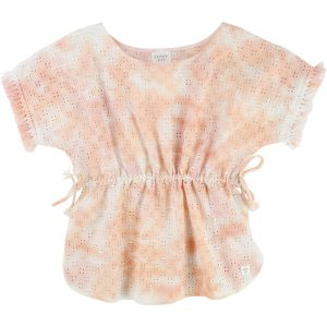 Carrément Beau  - PINK CORAL TIE DYE FRINGED TUNIC - Clothing