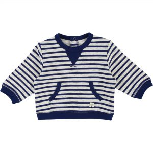 Carrément Beau  - OFF WHITE & NAVY STRIPE SWEATSHIRT - Clothing