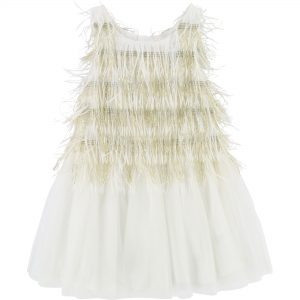 Billieblush  - MESH FRINGE WHITE DRESS - Clothing