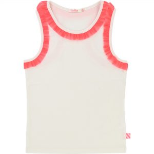 Billieblush  - PINK MESH FRILL SLEEVELESS IVORY T-SHIRT - Clothing