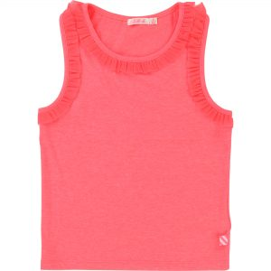 Billieblush  - PINK MESH FRILL SLEEVELESS FUSCHIA T-SHIRT - Clothing