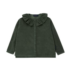 Tinycottons  - FRILLED COLLAR BLOUSE DARK GREEN - Clothing