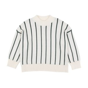Tinycottons  - STRIPES MOCK SWEATER BEIGE - Clothing
