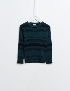 Bellerose  - GLAVA RIBBED SWEATER DARK GREEN AND NAVY - Clothing