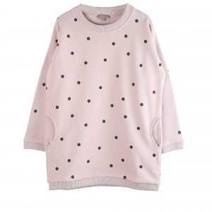 Emile et Ida  - POLKA DOT SWEATSHIRT DRESS PINK - Clothing