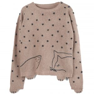 Emile et Ida  - SNOW FOX SWEATER CREAM - Clothing