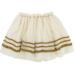 Billieblush  - MESH SKIRT CREAM AND GOLD - Clothing