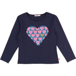 Billieblush  - SPANGLE HEART T-SHIRT NAVY - Clothing
