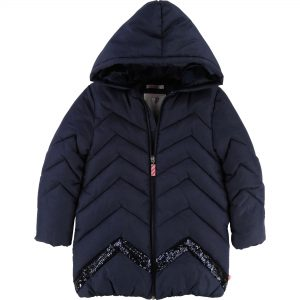 Billieblush  - GLITTER LONG HOODED PARKA NAVY - Clothing