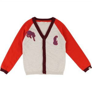 Billybandit  - JAGUAR CARDIGAN GREY AND RED - Clothing