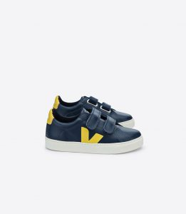 Veja  - ESPLAR LEATHER NAUTICO NAVY YELLOW VELCRO - Footwear