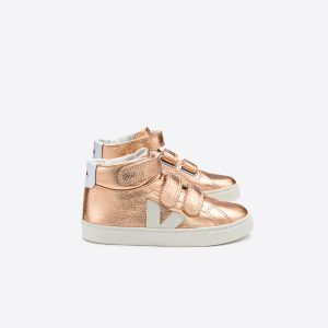 Veja  - ESPLAR MID LEATHER ROSE GOLD VELCRO - Footwear