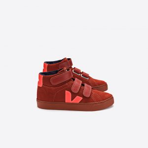 Veja  - ESPLAR MID SUEDE RUST ORANGE VELCRO - Footwear