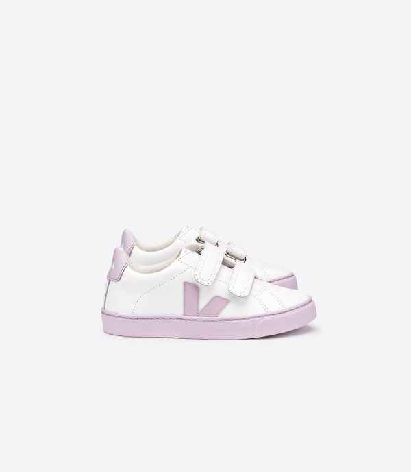 Veja  - ESPLAR LEATHER EXTRA WHITE LILA VELCRO - Footwear