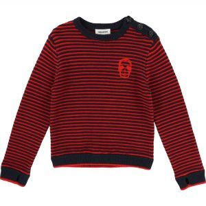 Zadig & Voltaire  - STRIPED SWEATER RED AND NAVY - Clothing