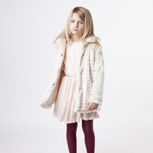 Carrément Beau  - FAKE FUR HOODED COAT CREAM - Clothing