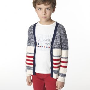 Carrément Beau  - STRIPED CARDIGAN BLUE WHITE RED - Clothing