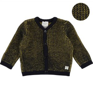 Carrément Beau  - BABY TWO-TONED CARDIGAN NAVY YELLOW - Clothing