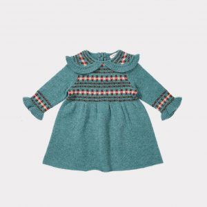 Caramel  - CAMEL BABY DRESS DUCK EGG BLUE FAIRISLE - Clothing