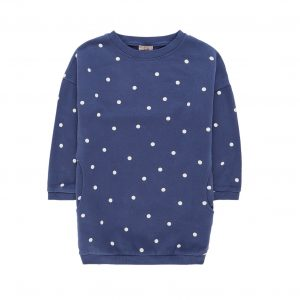 Emile et Ida  - POLKA DOT SWEATSHIRT DRESS NAVY - Clothing