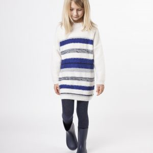 Carrément Beau  - KNITTED STRIPED DRESS BLUE AND WHITE - Clothing