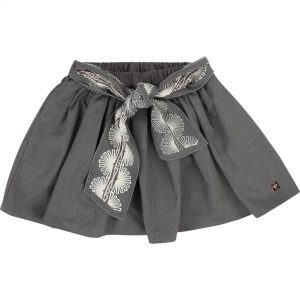 Carrément Beau  - EMBROIDERED BELT SKIRT GREY - Clothing