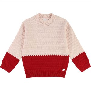 Carrément Beau  - COLOUR BLOCK SWEATER PINK AND RED - Clothing