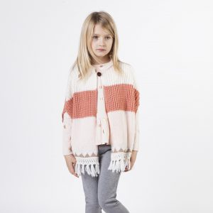 Carrément Beau  - KNITTED PONCHO PINK AND CORAL - Clothing
