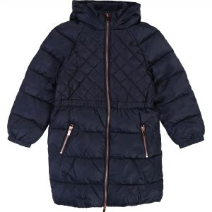 Carrément Beau  - LONG HOODED PUFFER JACKET NAVY - Clothing