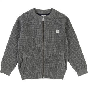 Carrément Beau  - HIGH COLLAR ZIP-UP CARDIGAN GREY - Clothing