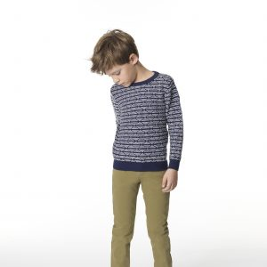 Carrément Beau  - JACQUARD SWEATER NAVY - Clothing