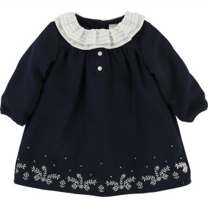 Carrément Beau  - FLOWER EMBROIDERY BABY DRESS NAVY - Clothing