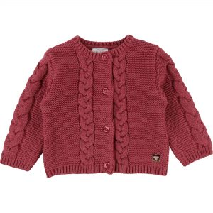 Carrément Beau  - KNITTED BRAID BABY CARDIGAN PINK - Clothing