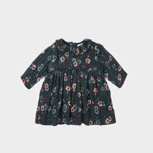 Caramel  - AVOCET BABY DRESS DARK TEAL PAINTED FLOWER - Clothing