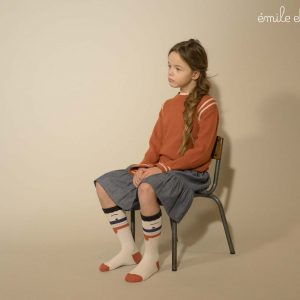 Emile et Ida  - BELL SLEEVE SWEATER BRICK - Clothing