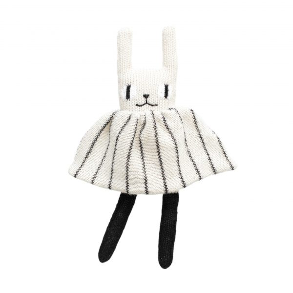Main Sauvage  - RABBIT KNIT TOY BLACK AND WHITE - Toys