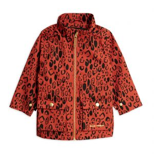Mini Rodini  - LEOPARD PIPING JACKET RED - Clothing